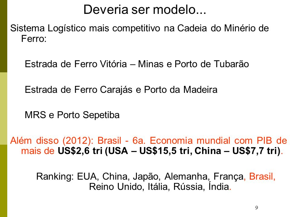 Deveria ser modelo... Sistema Logístico mais competitivo na Cadeia do Minério de Ferro: Estrada de Ferro Vitória – Minas e Porto de Tubarão.
