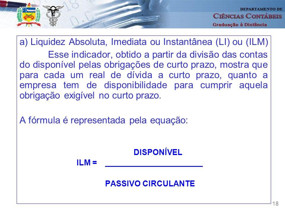 a) Liquidez Absoluta, Imediata ou Instantânea (LI) ou (ILM)