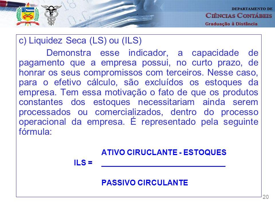 c) Liquidez Seca (LS) ou (ILS)