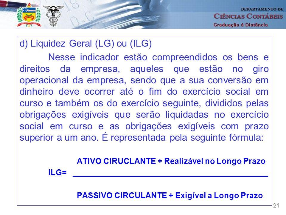 d) Liquidez Geral (LG) ou (ILG)