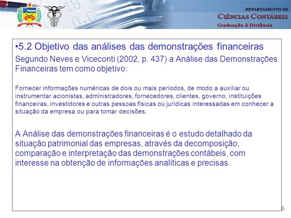 5.2 Objetivo das análises das demonstrações financeiras