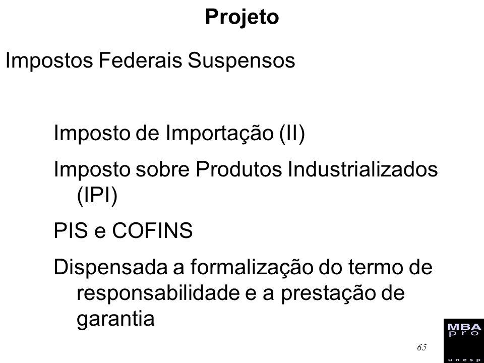 ProjetoImpostos Federais Suspensos. Imposto de Importação (II) Imposto sobre Produtos Industrializados (IPI)