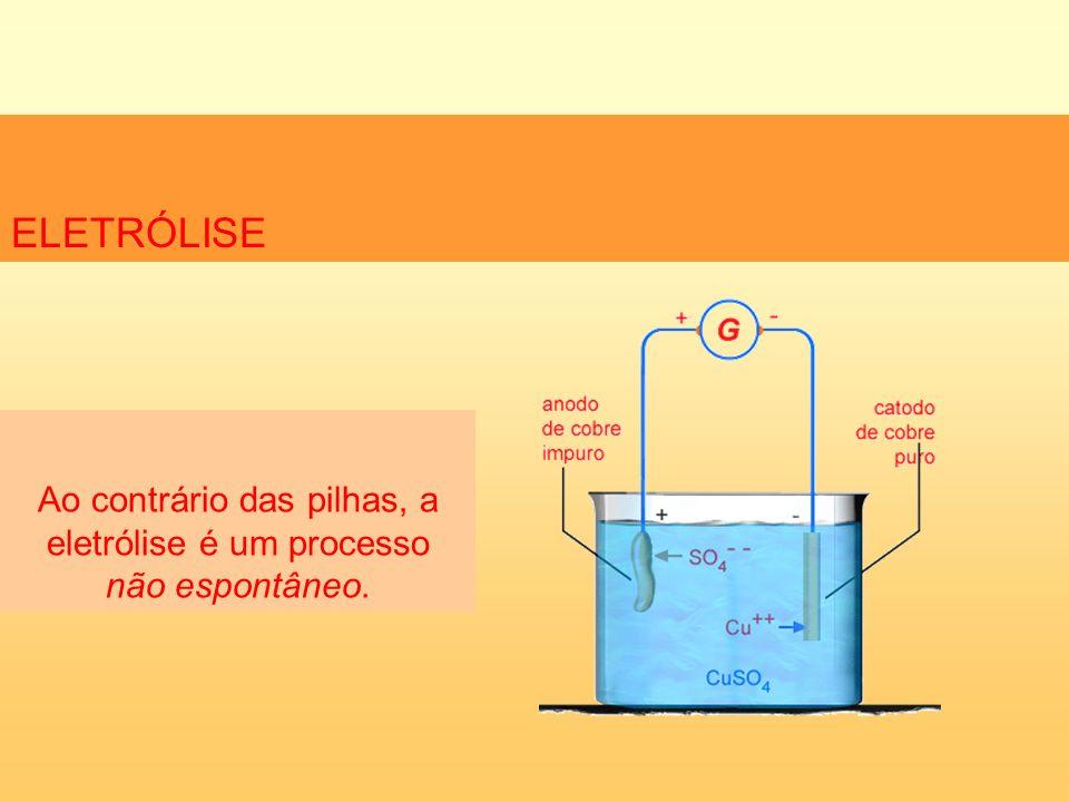 Ao contrário das pilhas, a eletrólise é um processo não espontâneo.