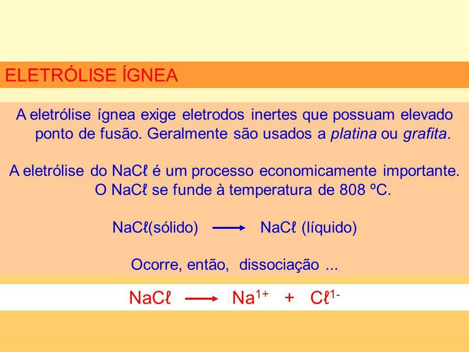 ELETRÓLISE ÍGNEA NaCℓ Na1+ + Cℓ1-