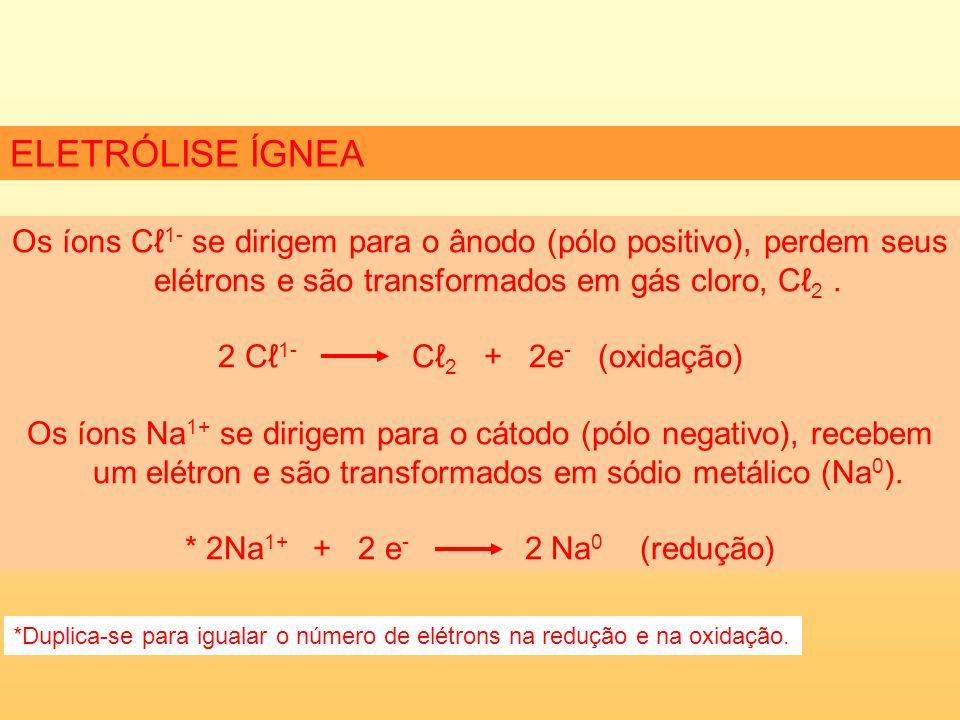 ELETRÓLISE ÍGNEA Os íons Cℓ1- se dirigem para o ânodo (pólo positivo), perdem seus elétrons e são transformados em gás cloro, Cℓ2 .