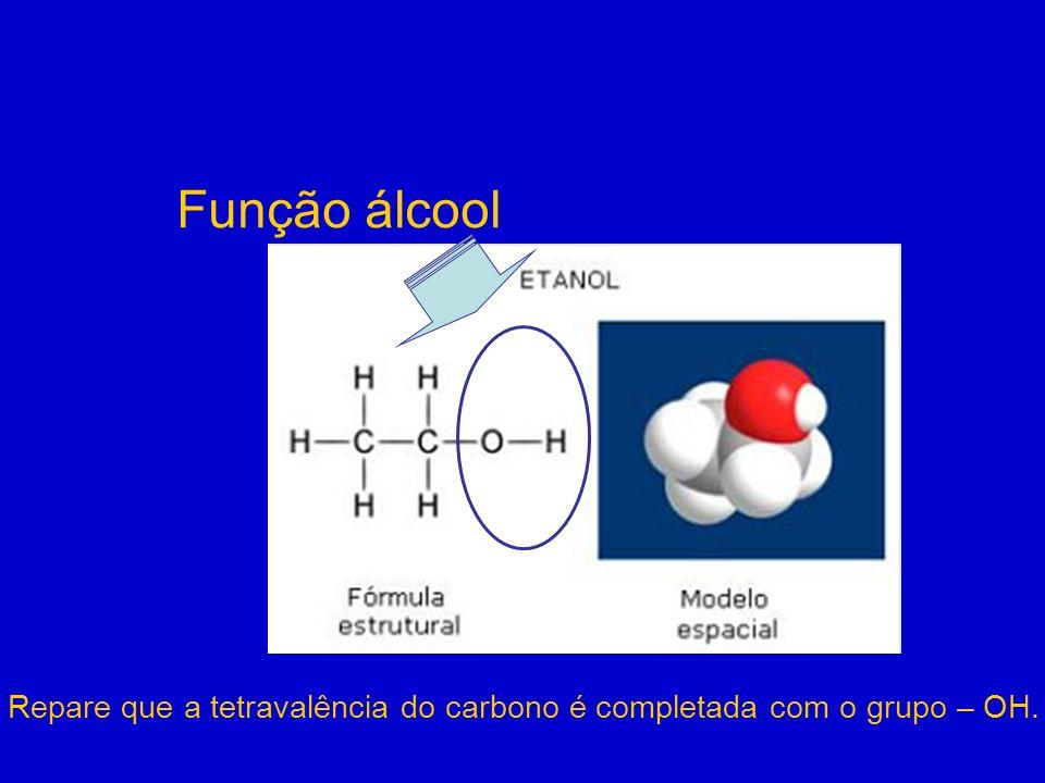 Função álcool Repare que a tetravalência do carbono é completada com o grupo – OH.