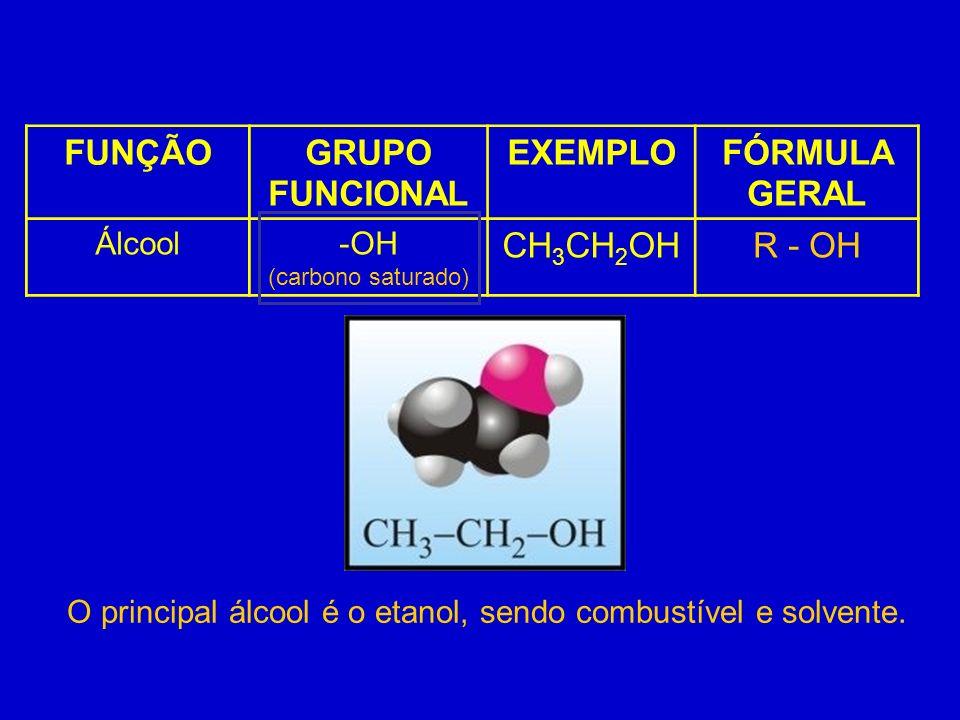 O principal álcool é o etanol, sendo combustível e solvente.