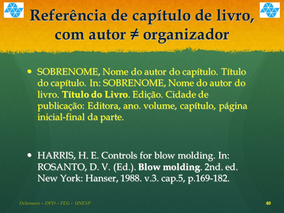 Referência de capítulo de livro, com autor ≠ organizador