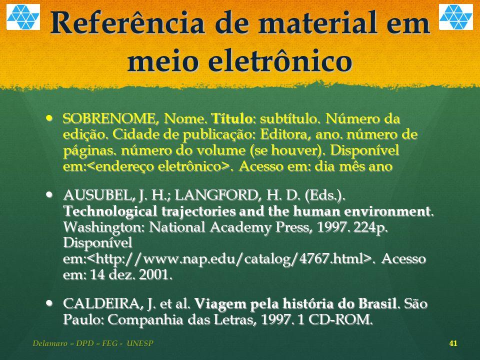 Referência de material em meio eletrônico