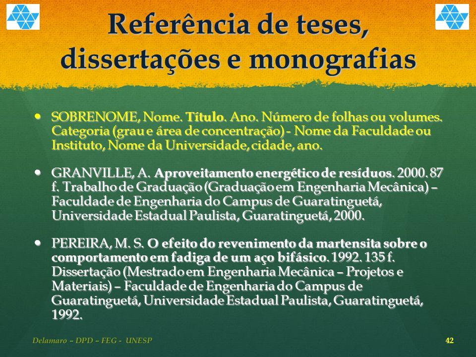 Referência de teses, dissertações e monografias