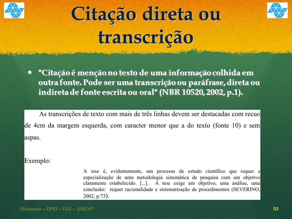 Citação direta ou transcrição