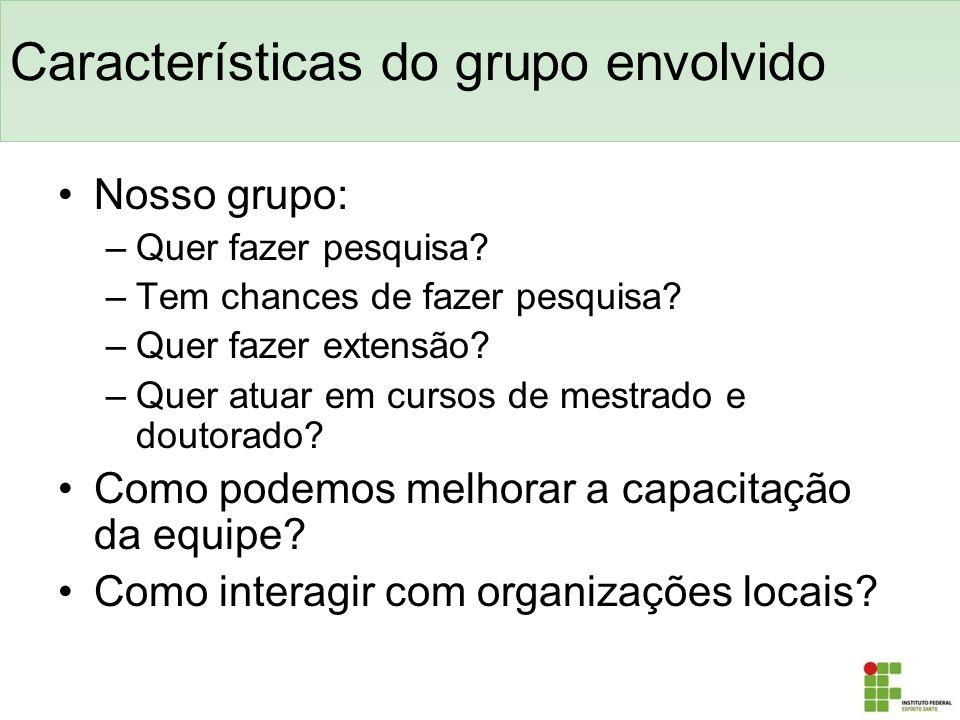 Características do grupo envolvido