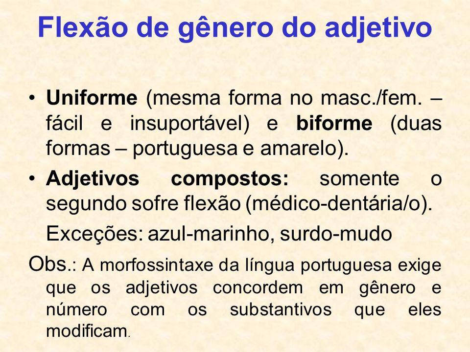 Flexão de gênero do adjetivo