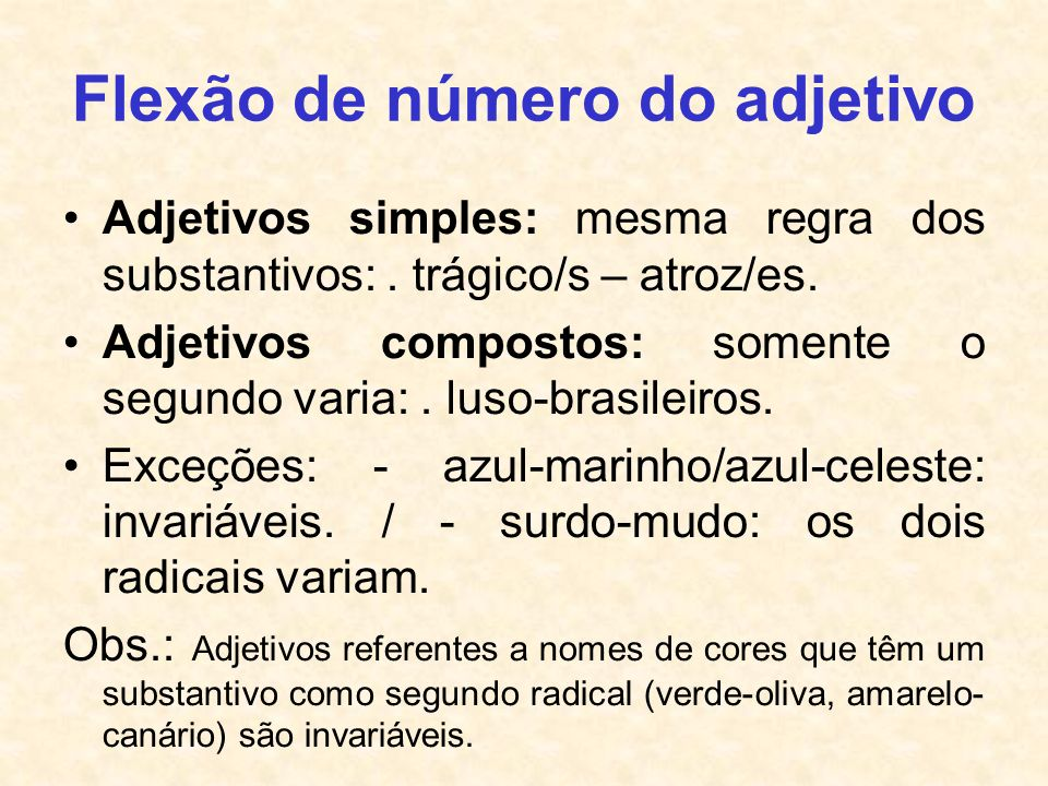 Flexão de número do adjetivo