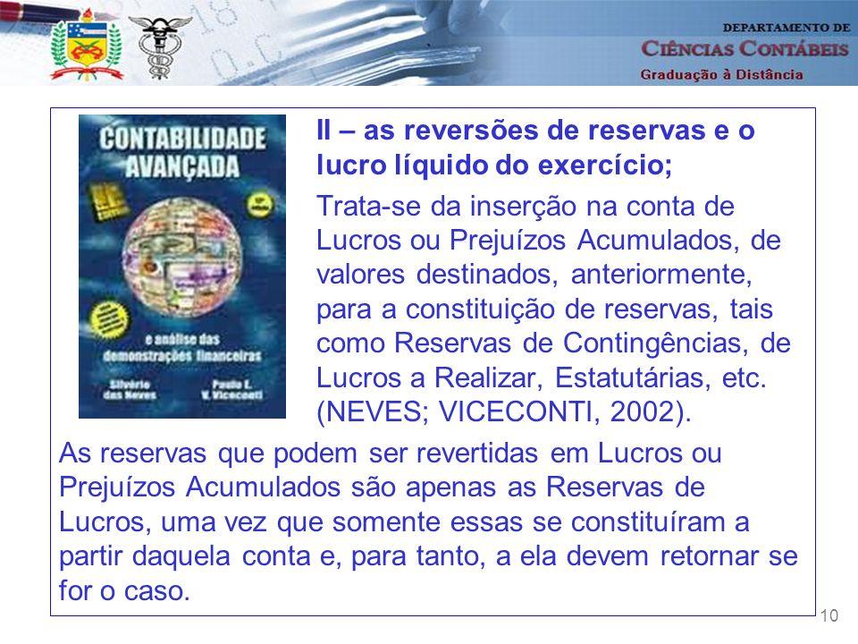 II – as reversões de reservas e o lucro líquido do exercício;