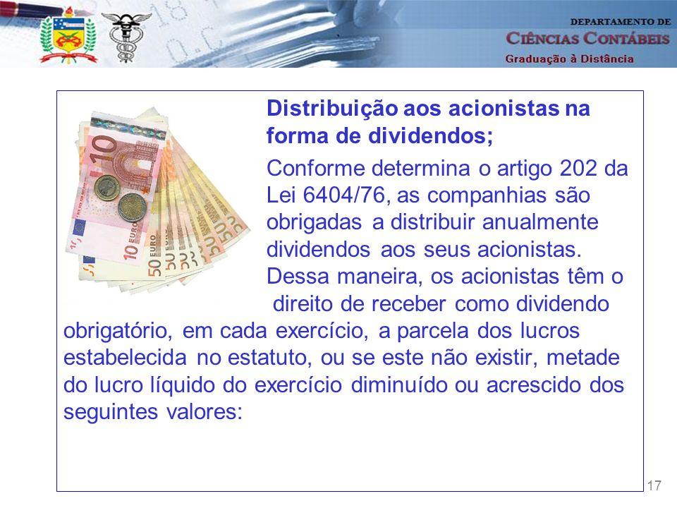 Distribuição aos acionistas na forma de dividendos;