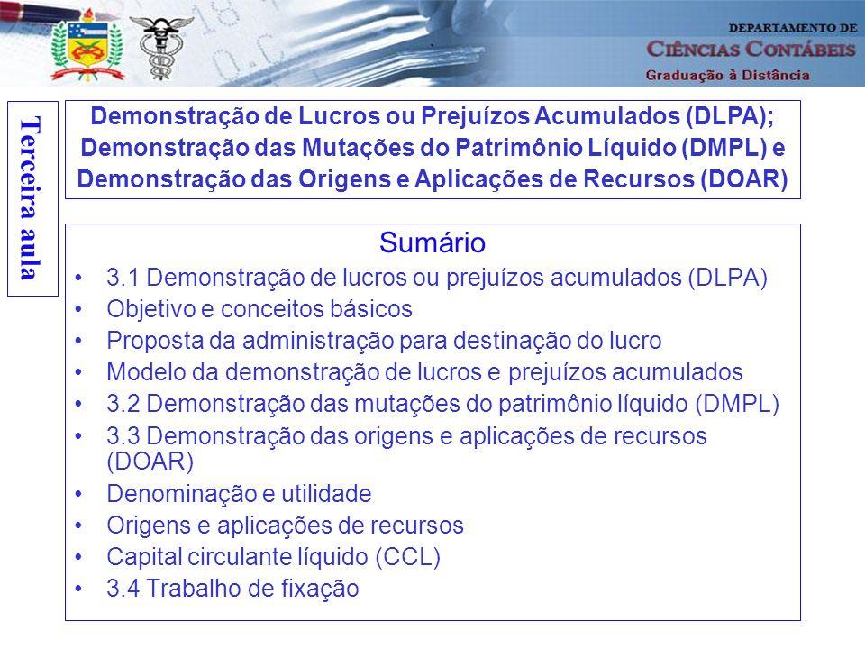 Terceira aula Demonstração de Lucros ou Prejuízos Acumulados (DLPA); Demonstração das Mutações do Patrimônio Líquido (DMPL) e.