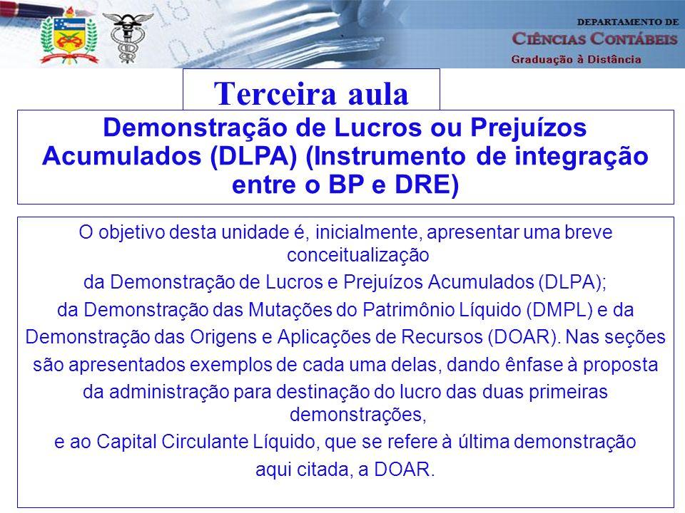 Terceira aula Demonstração de Lucros ou Prejuízos Acumulados (DLPA) (Instrumento de integração entre o BP e DRE)