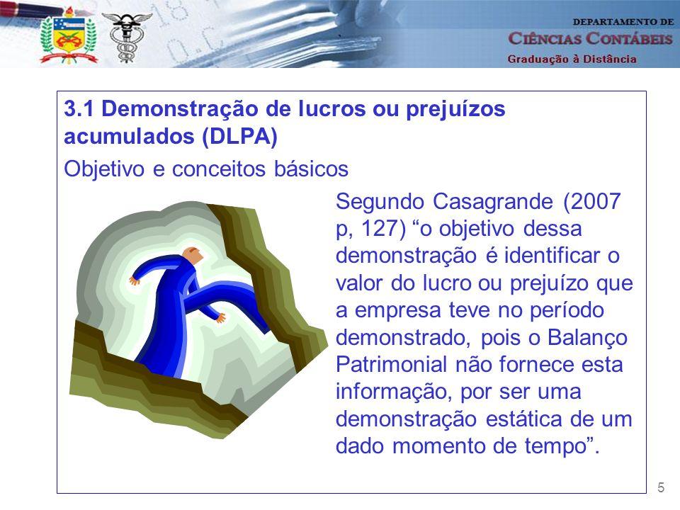 3.1 Demonstração de lucros ou prejuízos acumulados (DLPA)