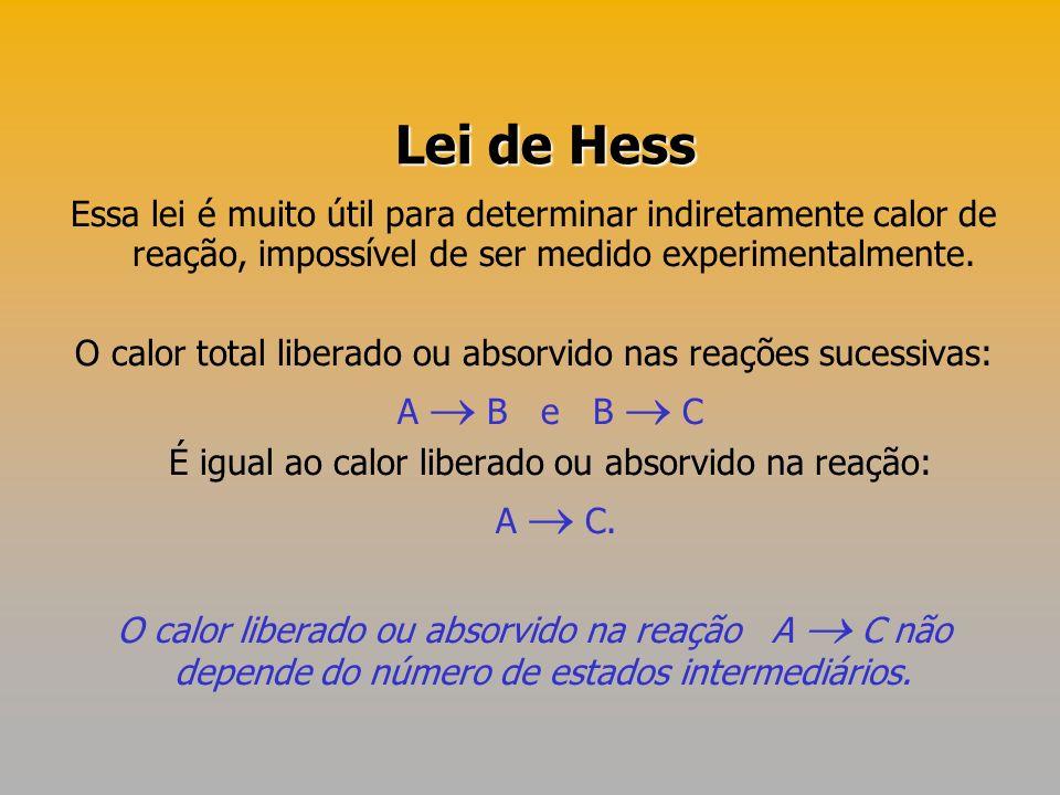Lei de Hess Essa lei é muito útil para determinar indiretamente calor de reação, impossível de ser medido experimentalmente.