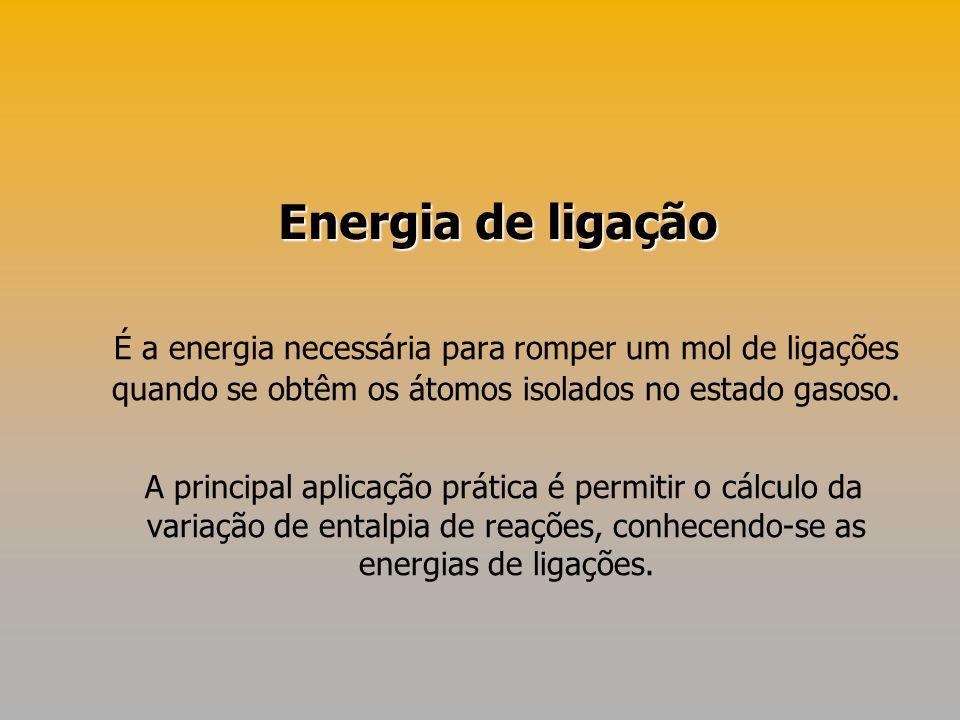 Energia de ligação É a energia necessária para romper um mol de ligações quando se obtêm os átomos isolados no estado gasoso.