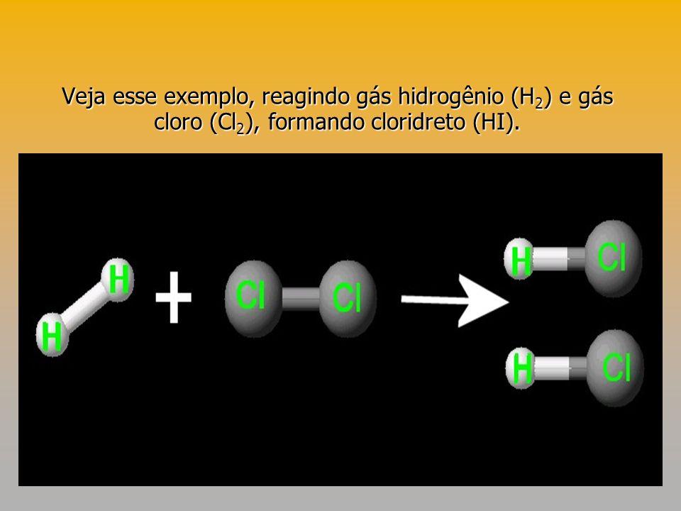 Veja esse exemplo, reagindo gás hidrogênio (H2) e gás cloro (Cl2), formando cloridreto (HI).