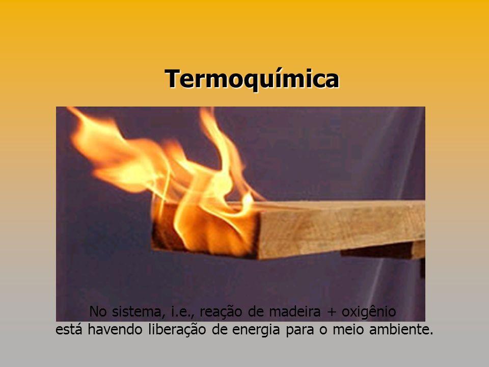 Termoquímica No sistema, i.e., reação de madeira + oxigênio