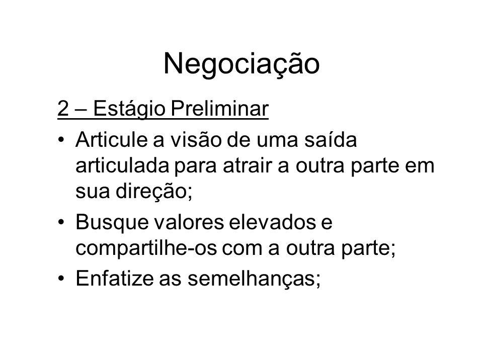 Negociação 2 – Estágio Preliminar