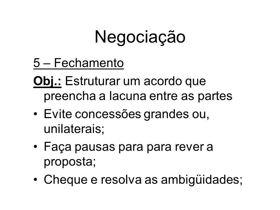 Negociação 5 – Fechamento