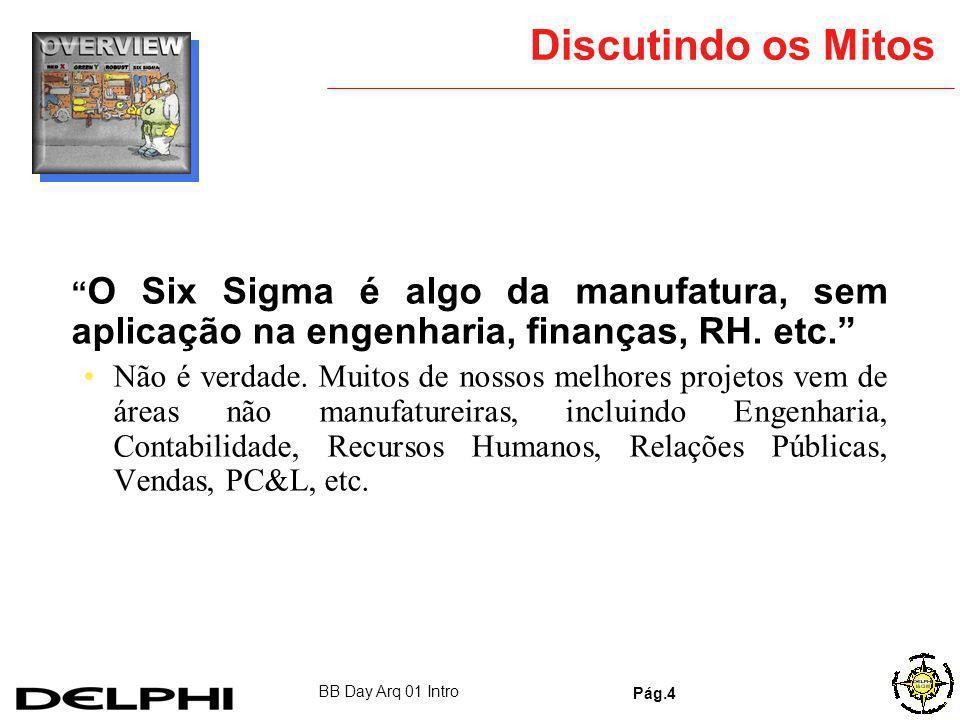 Discutindo os Mitos O Six Sigma é algo da manufatura, sem aplicação na engenharia, finanças, RH. etc.