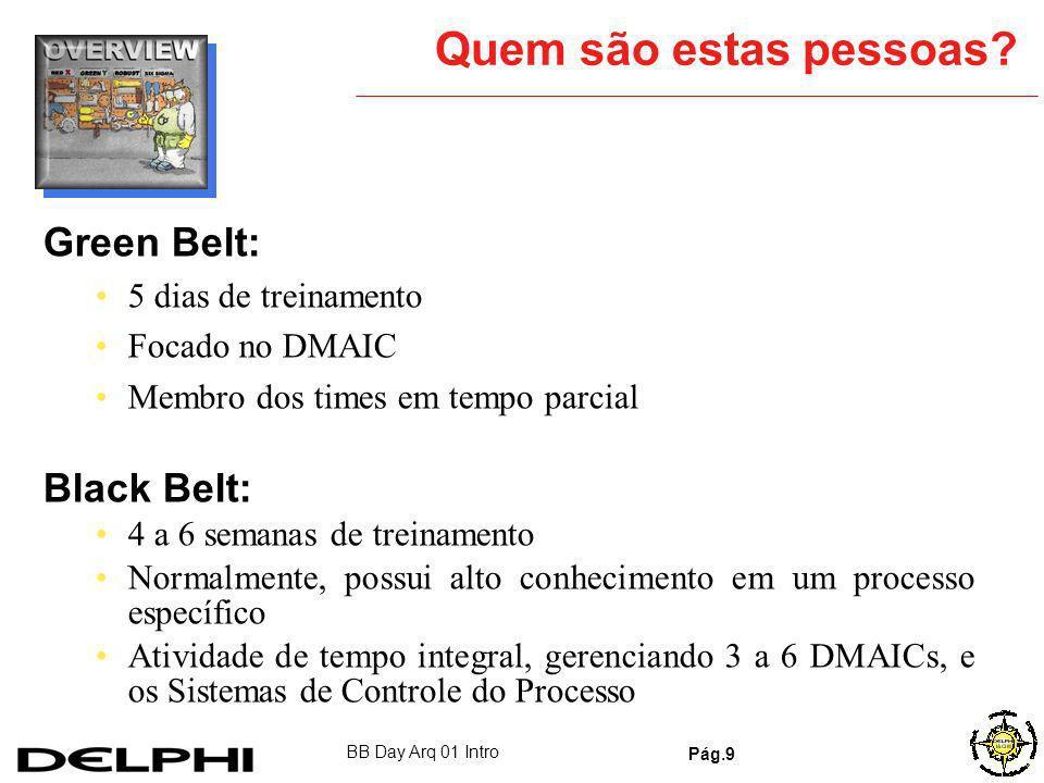 Quem são estas pessoas Green Belt: Black Belt: 5 dias de treinamento