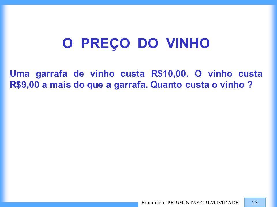 O PREÇO DO VINHO Uma garrafa de vinho custa R$10,00. O vinho custa R$9,00 a mais do que a garrafa. Quanto custa o vinho