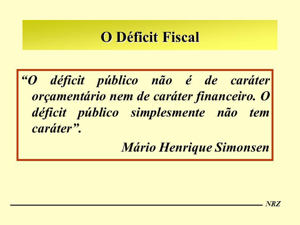O Déficit Fiscal O déficit público não é de caráter orçamentário nem de caráter financeiro. O déficit público simplesmente não tem caráter .