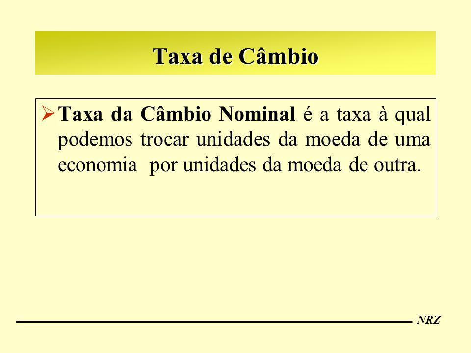 Taxa de Câmbio Taxa da Câmbio Nominal é a taxa à qual podemos trocar unidades da moeda de uma economia por unidades da moeda de outra.