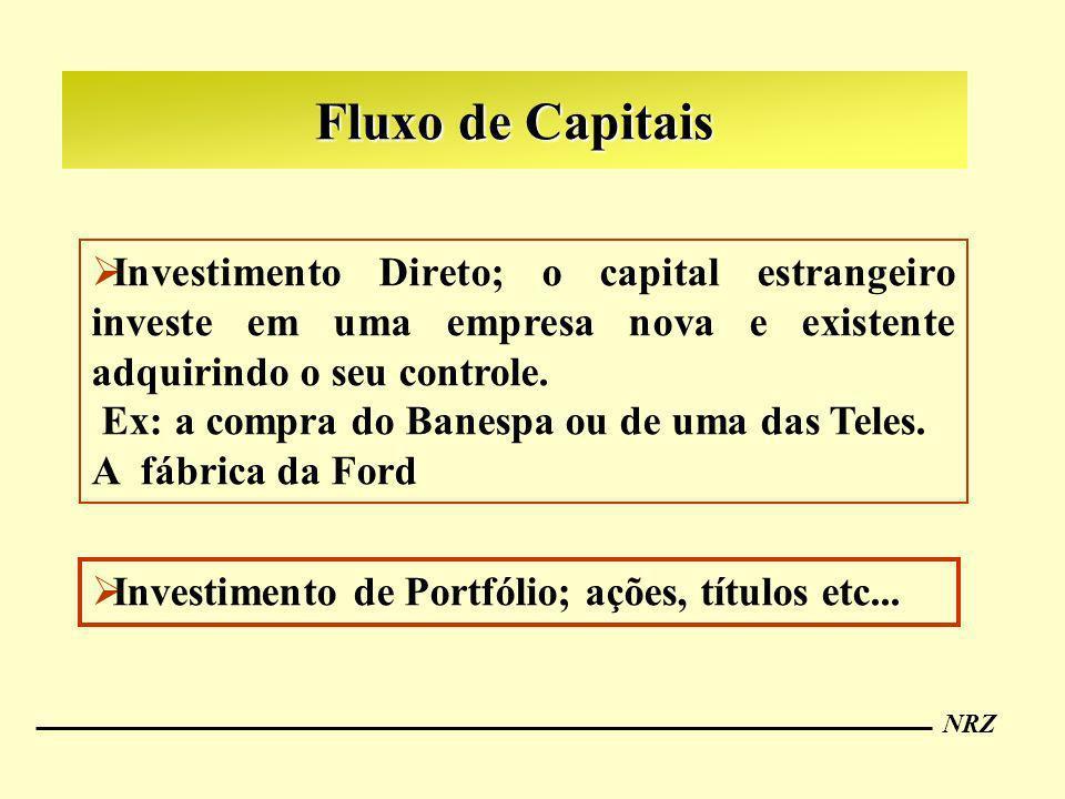 Fluxo de Capitais Investimento Direto; o capital estrangeiro investe em uma empresa nova e existente adquirindo o seu controle.