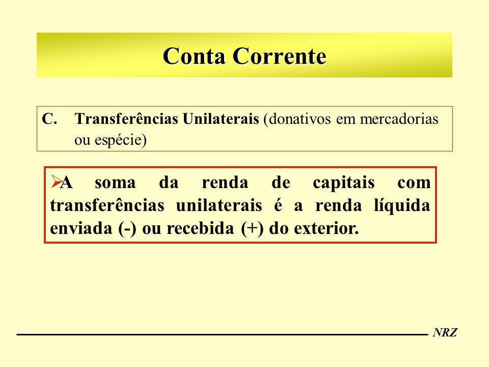 Conta Corrente Transferências Unilaterais (donativos em mercadorias ou espécie)