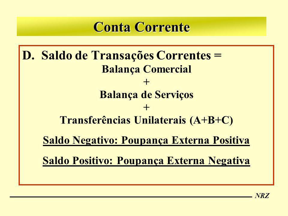 Conta Corrente Saldo de Transações Correntes = Balança Comercial +