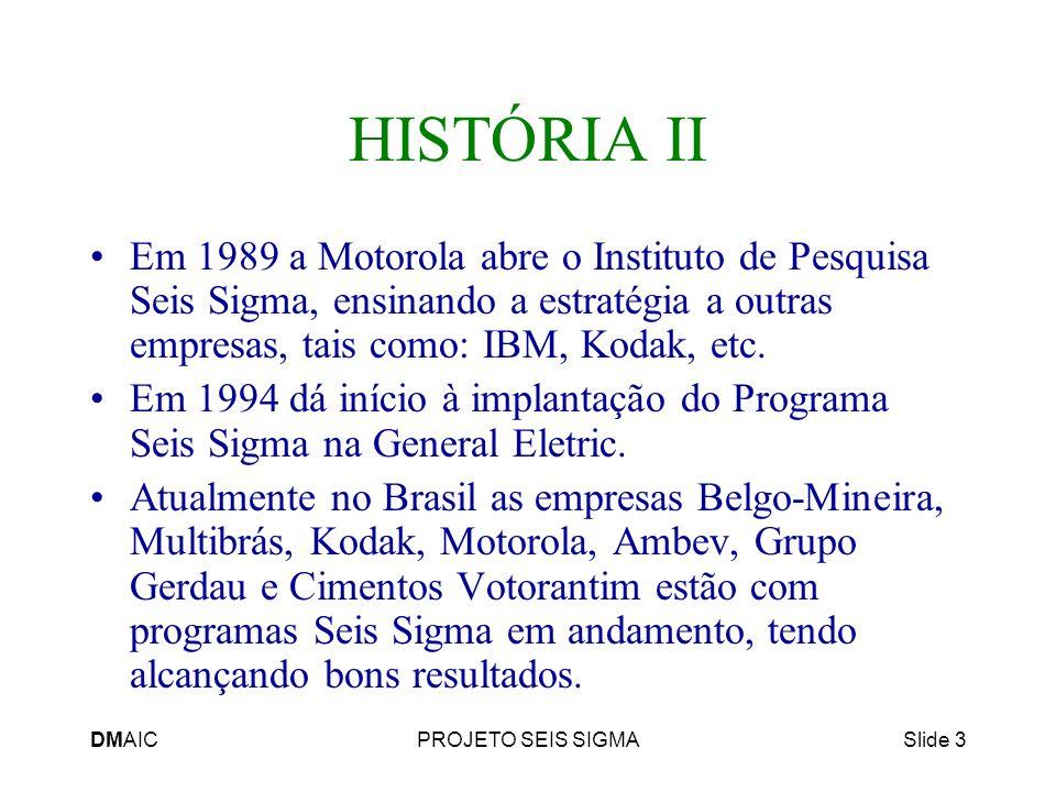 HISTÓRIA II Em 1989 a Motorola abre o Instituto de Pesquisa Seis Sigma, ensinando a estratégia a outras empresas, tais como: IBM, Kodak, etc.