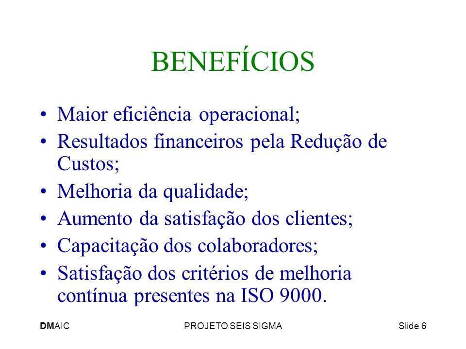 BENEFÍCIOS Maior eficiência operacional;