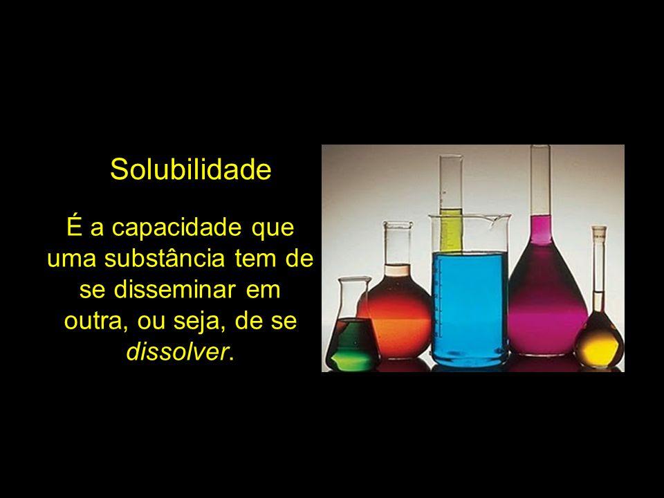 Solubilidade É a capacidade que uma substância tem de se disseminar em outra, ou seja, de se dissolver.