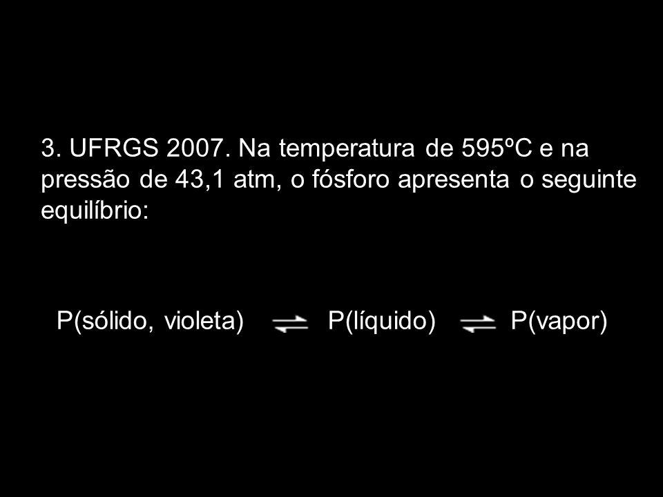 3. UFRGS 2007. Na temperatura de 595ºC e na pressão de 43,1 atm, o fósforo apresenta o seguinte equilíbrio: