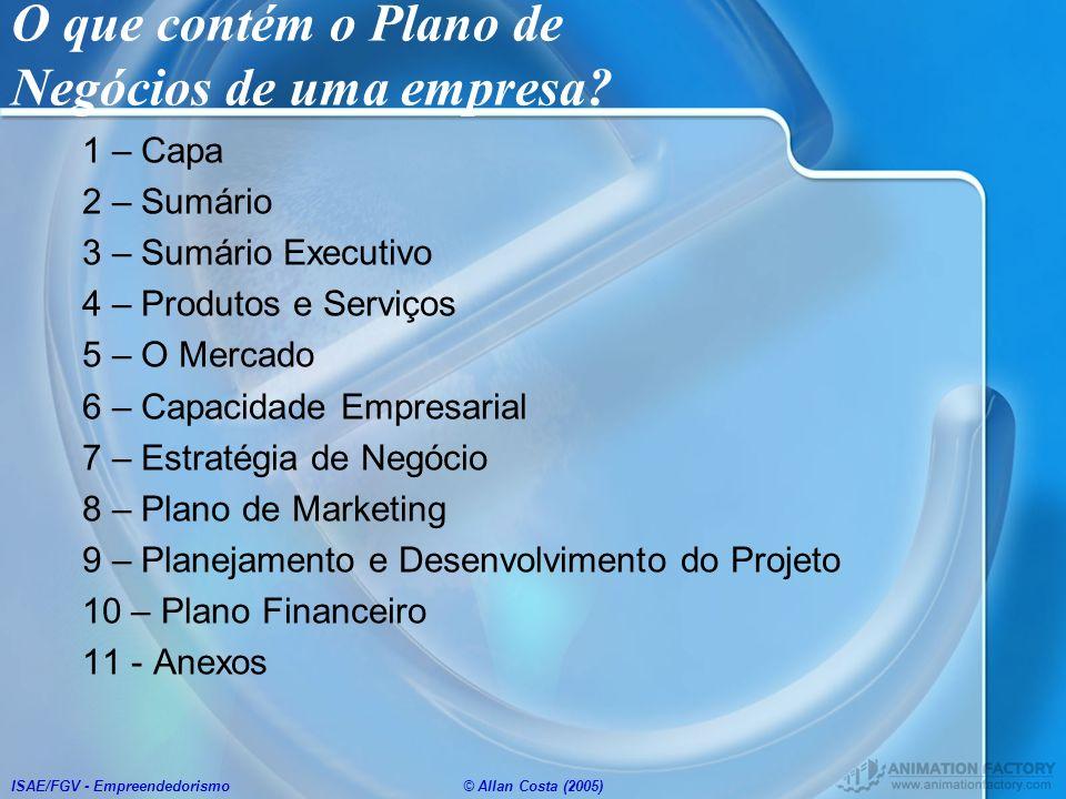 O que contém o Plano de Negócios de uma empresa