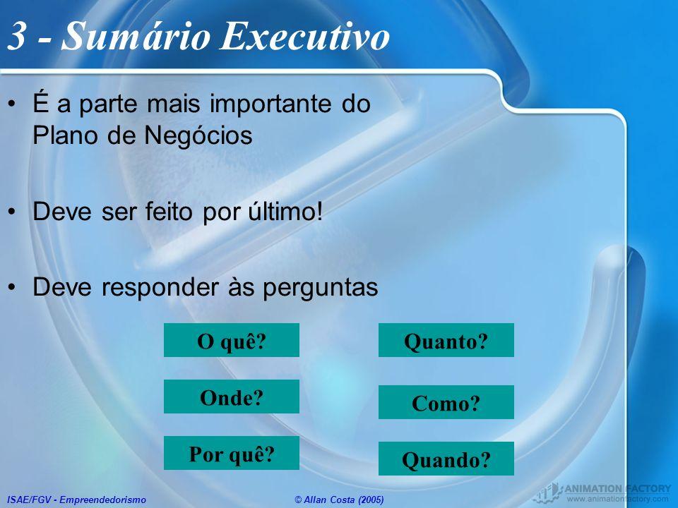 3 - Sumário Executivo É a parte mais importante do Plano de Negócios
