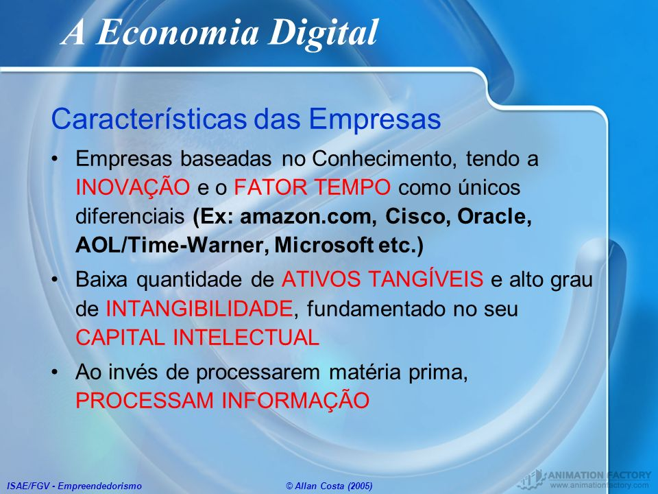 A Economia Digital Características das Empresas