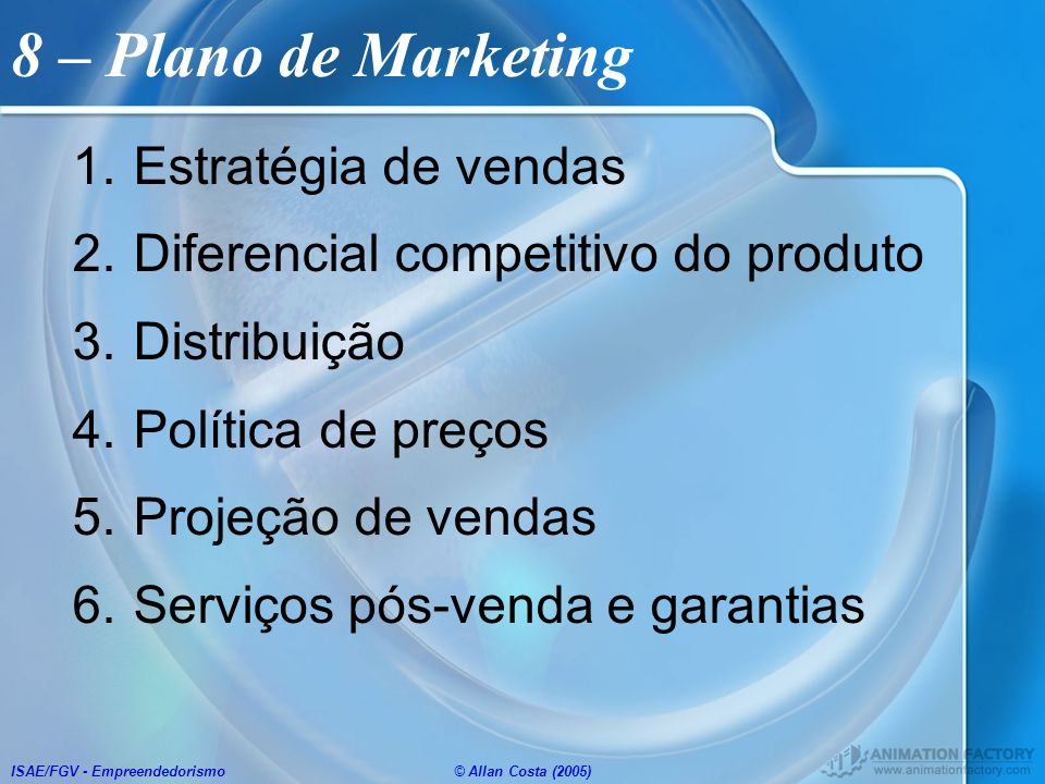 8 – Plano de Marketing Estratégia de vendas