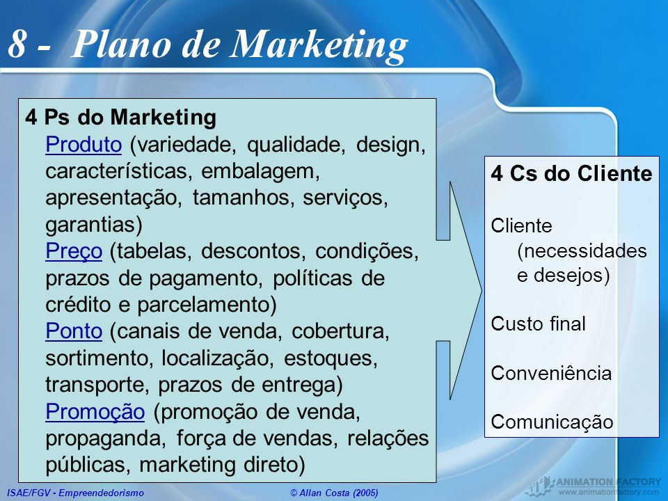 8 - Plano de Marketing 4 Ps do Marketing