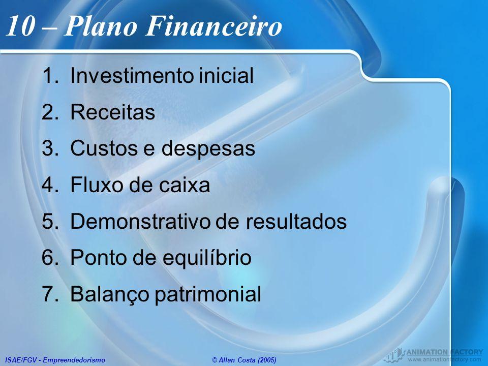 10 – Plano Financeiro Investimento inicial Receitas Custos e despesas
