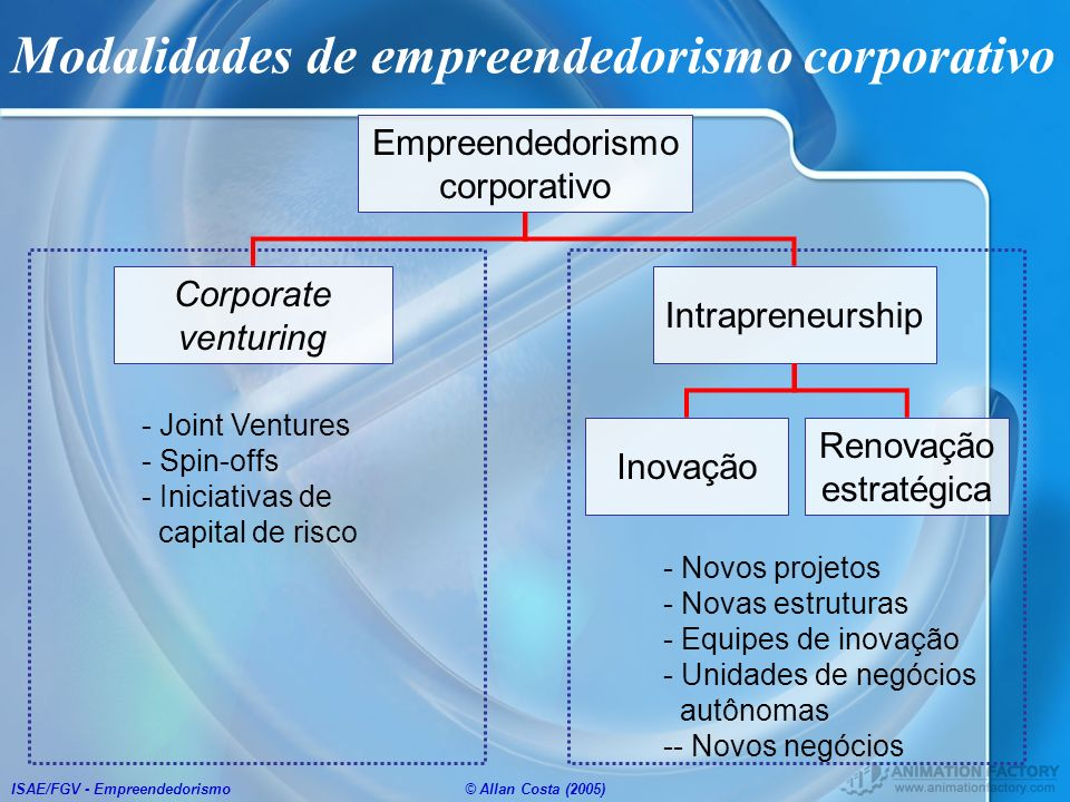 Modalidades de empreendedorismo corporativo