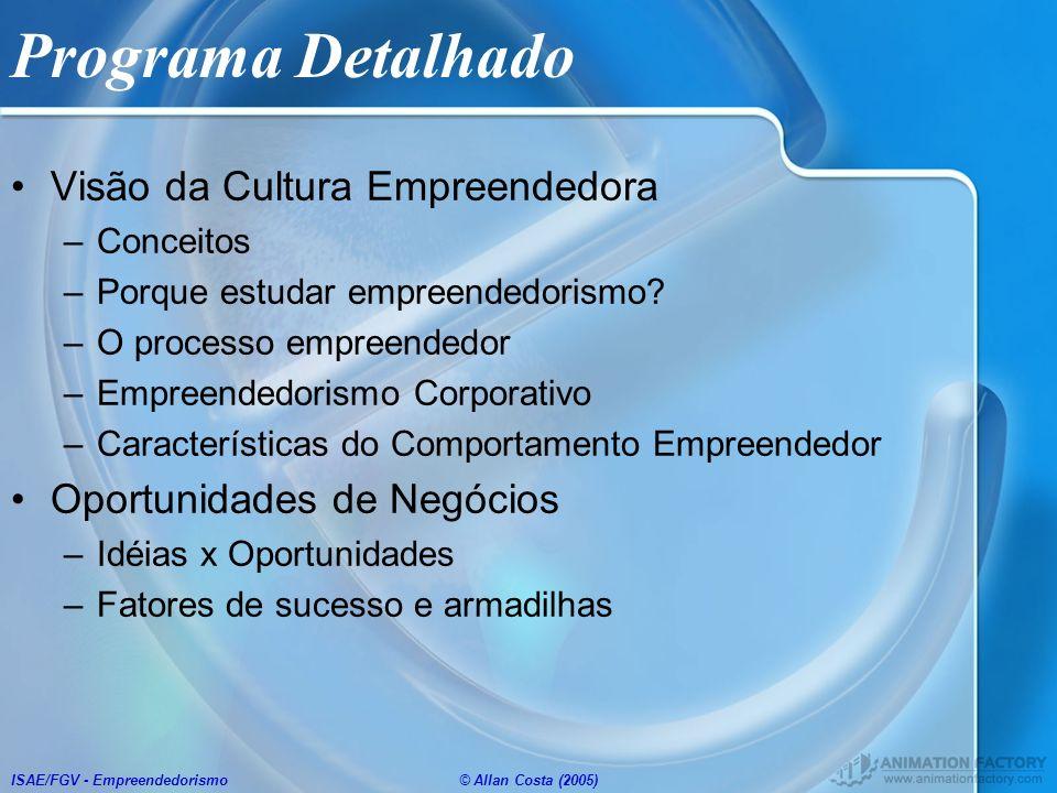 Programa Detalhado Visão da Cultura Empreendedora