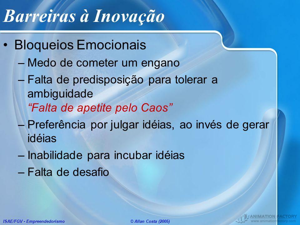 Barreiras à Inovação Bloqueios Emocionais Medo de cometer um engano